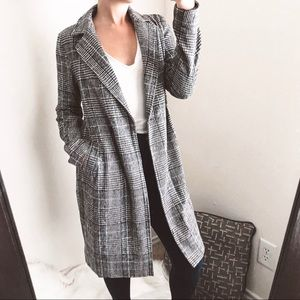 lulu's - plaid peacoat jacket full-length printed